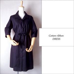 綿 ウェストリボンドレス