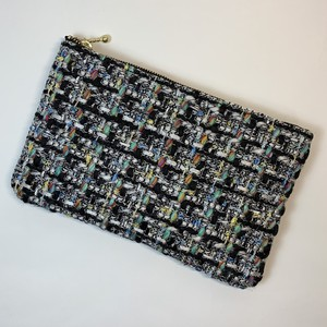 chanel tweed pouch silver