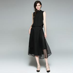 シンプルでおしゃれなデザインドレス☆ ブラック 大きいサイズ ノースリーブ メッシュ 透け感 ツーピース セット 結婚式 同窓会 食事会 フォーマル 3235