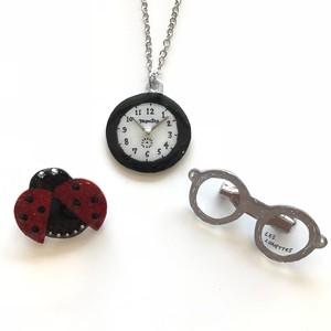 キャトルシス ムッシュのたしなみブローチセット×時計ネックレス/ BK