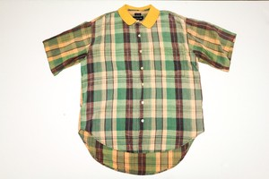 USED CHECK SS SHIRT 古着 半袖シャツ チェック イエロー 通販