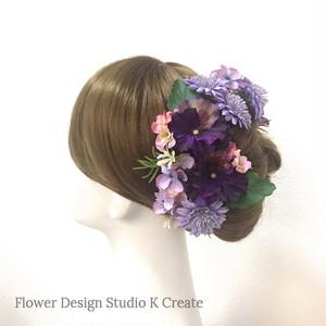 ラベンダー色のデージーと紫陽花のヘッドドレス(Uピン 10本セット) 結婚式 パンジー パープル 秋色 ウェディング