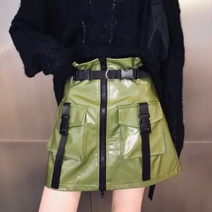 leather long belt skirt