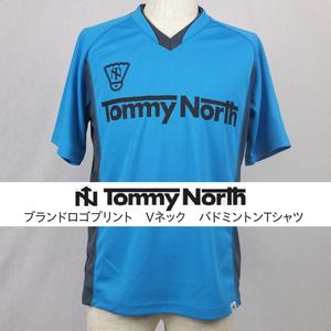 Tommy North ブランドロゴプリント Vネック バドミントンTシャツ BDM0001 ターコイズ×グレー