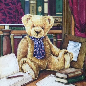 入荷しました|完売再入荷【Ambiente】バラ売り2枚 ランチサイズ ペーパーナプキン TEDDY IN LIBRARY マルチカラー