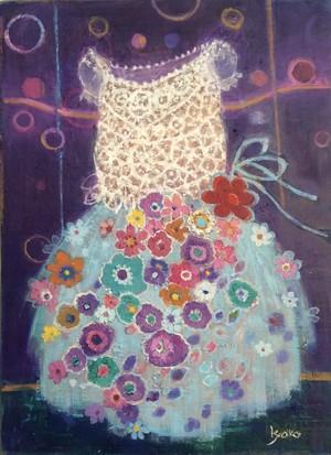 青のドレス|油彩画