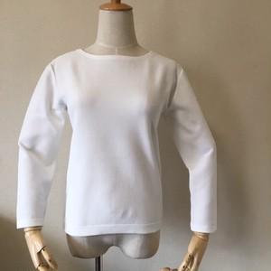 軽サラニット かのこ編み ボートネックセーター オフホワイト