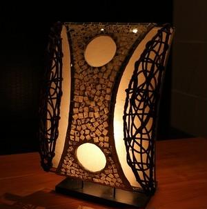 【 ライト ラタン・モザイクタイル 】 ライトカバー アジアンライト ライト ランプ アジアン雑貨 バリ雑貨 リゾート おしゃれ ラタン