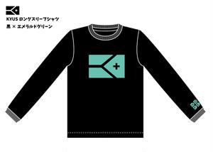 《限定販売 完全受注生産》KYUS フラッグ柄ドライメッシュロングスリーブTシャツ(ブラック×エメラルドグリーン)