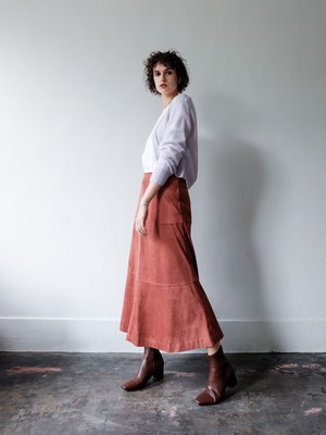 patchwork eco suede skirt(pink brown)