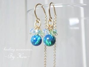 ~✶揺らめく誘惑の瑠璃色✶~Kyoto Opal ピアス。