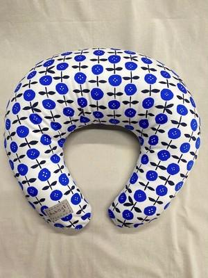 授乳クッション大きい(L)サイズ ボタンフラワー 青