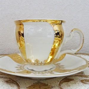 チェコスロバキア BERNADOTTE CZECHOSLOVAKIA ホワイトゴールド カップ&ソーサー 2客セット