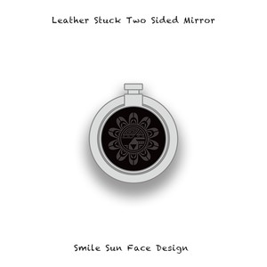Leather Stuck Smartphone Ring / Smile Sun Face Skull Design 003