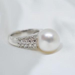 1点物/13mm大粒南洋真珠とダイヤモンドの豪華なパヴェリング#12号