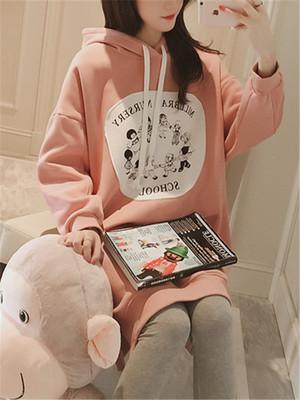 【tops】Hooded cartoon print knee length sweater