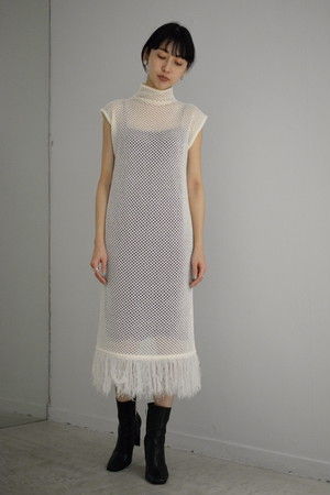 【予約商品】ROOM211 / Mole mesh knit OP (white)