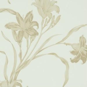 輸入壁紙【BN ビーエヌ】caravaggio 46843 ホワイト ゴールド 白 金 カラヴァッジオ 百合 ユリ 花柄 フリース