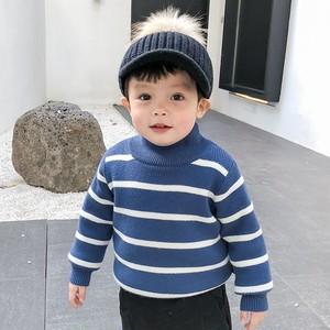 【子供服】ボーダーカラーマッチングスタンドネックニットセーター・トップス24352306