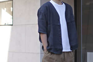【maillot】 linen s/s cardigan shirt-Tee col.CHARCOAL