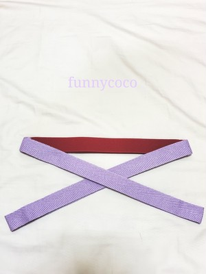 カラー三重紐 赤×ラベンダー