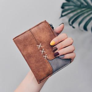 【バッグ】日系レトロ清新PU配色二つ折りカード収納財布