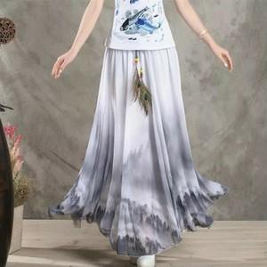 原宿デザイン 花柄のマキシスカート