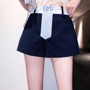 blue zipper short pants