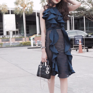 Navy lace frilled dress