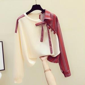 【トップス】好感度100%韓国系不規則切り替え配色プルオーバーシャツ37406504