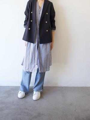 italy silk linen stripe coat dress / Munich