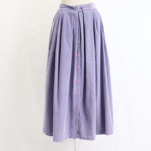 【Liz sport】Corduroy Front button Purple Flare Skirt 【リズ スポーツ】コーデュロイ 前ボタン フレアスカート