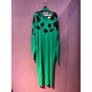 80's green design knit one-piece[B1280]