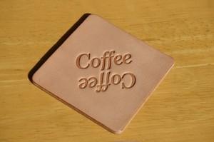 レザーコースター 刻印(Coffee Coffee)デザイン1(ナチュラル)