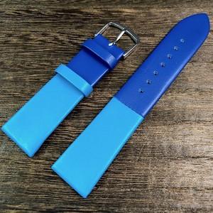 BAMBI カラーブロック 2トーン ストラップ  ブルー/ターコイズ 20mm 腕時計ベルト