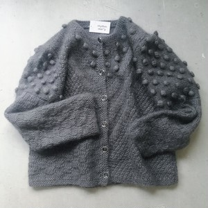 GRAY POMPON KNIT CARDIGAN.