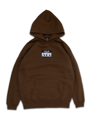 LOGO PATCH FLOWER HOODIE brown