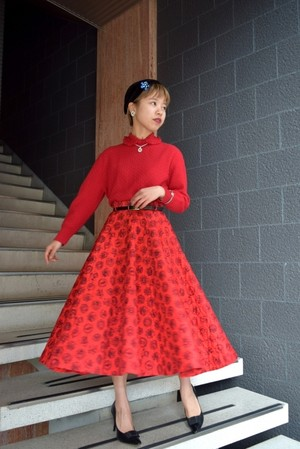 VINTAGE print red quilting circular skirt with belt