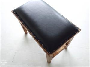 オールドチーク レザーベンチBK60 イス 無垢 オットマン スツール ソファ 手作り レザー張りベンチ 古材 革張り レトロ調