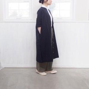 2019年5月末入荷予定 【 YAMMA 】会津木綿丸首ボタンワンピース ヤンマ産業
