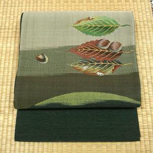 錆鉄御納戸色の織りに栗 洒落袋帯