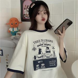 【トップス】シンプルカジュアル半袖無地カートゥーンプリントTシャツ45449357