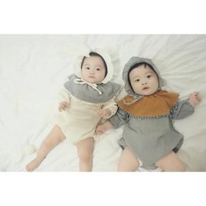 【予約】2017秋冬 大人気 韓国子供服 女の子 男の子 赤ちゃん ベビー服ボンボンスタイ付き コットンロンパース
