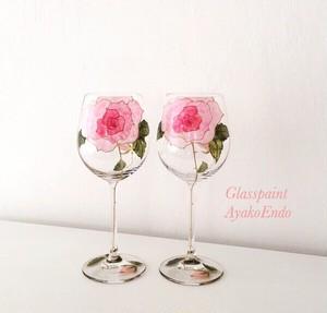 【母の日プレゼント】フリーハンドで描くピンクローズワイングラス1客/母の日ギフト・誕生日プレゼント