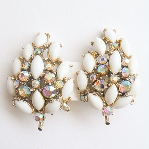 """ART"" white & aurora earring[e-658]"