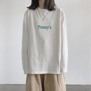 【トップス】シンプル定番ラウンドネック無地アルファベット長袖Tシャツ43086865