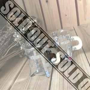 ≫未使用*ペアコーヒーグラス*耐熱ガラスのデミタスカップ2客セット*木製ハンドル×硝子×スチールマグカップ*茶器*珈琲キッチンカフェ