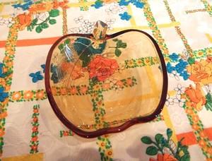 曽我ガラス/りんご型小鉢 アンバー