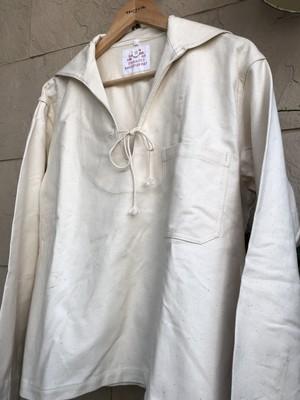 Deadstock German military white cotton sailer shirts