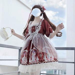 【セットアップ】日系Lolitaスウィートプリント半袖ワンピースセットアップ